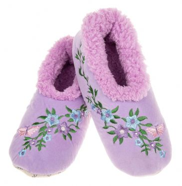 Flower Power Snoozies Fleece Lined Lilac Non Slip Slippers